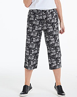 Easy Care Print Linen Mix Crop Trousers