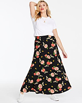 Print Crepe Maxi Skirt