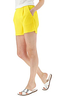 Yellow Crepe Shorts