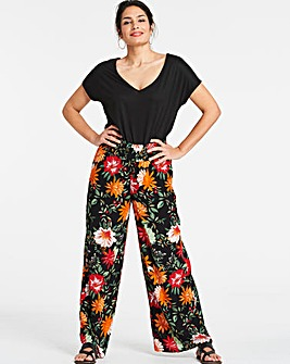 Black Floral Crinkle Wide Trousers