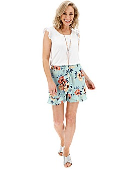 Flora Print Crinkle Wrap Frill Shorts