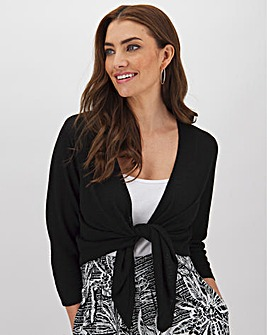 Linen Tie Front Shrug With Metallic