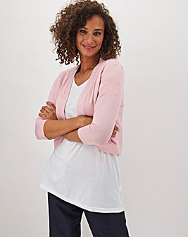 Blush Curved Hem Shrug