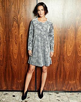 Steel Grey Embossed Velour Swing Dress