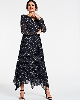 Spot Print Pleated Midi Dress