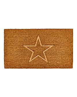 Star Carved Coir Doormat