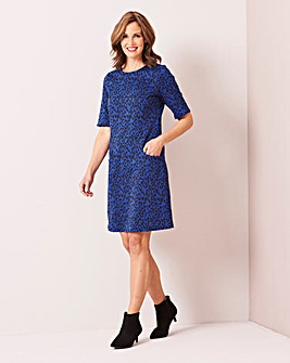 Blue Leopard Print Pocket Shift Dress