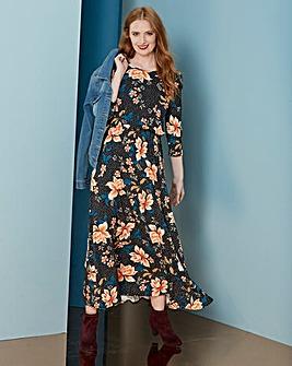 Black Print Jersey Midi Dress