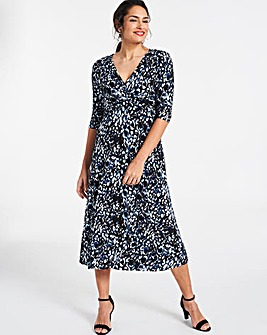 Black/Blue Leopard Wrap Waist Dress