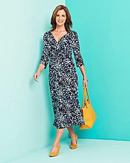 Black/Blue Leopard Wrap Waist Dress