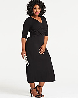 Black Wrap Waist Dress