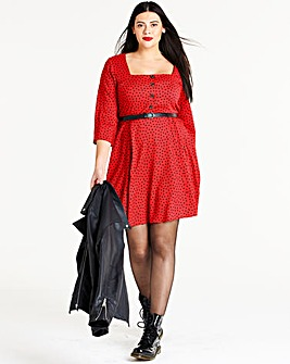 Polka Dot Square Neck Tea Dress