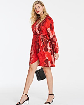 Red Snake Print Wrap Woven Dress