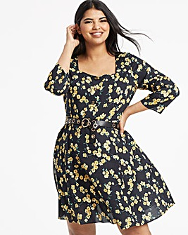 Yellow Floral Square Neck Tea Dress