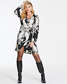 Paisley Print Wrap Woven Dress