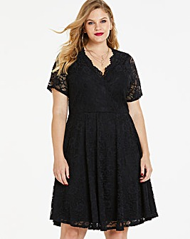 Black Lace Skater Wrap Dress