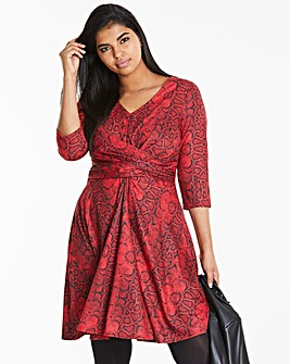 Red Snake Wrap Front Skater Dress