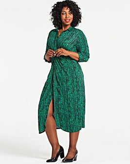 Green Print Twist Front Shirt Dress