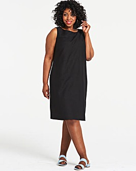 Black Easycare V Back Linen Dress