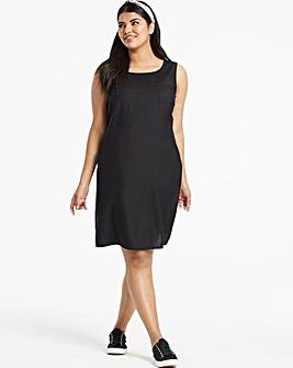 Black Easycare V Back Linen Dress