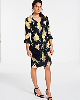 Crepe Print Shift Dress