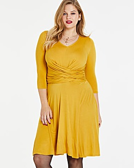 Ochre Wrap Front Skater Dress