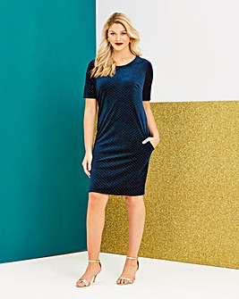 Velvet Side Pocket Shift Dress
