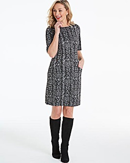 Snake Print Pocket Shift Dress