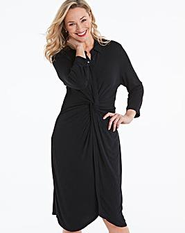 Black Twist Front Jersey Shirt Dress