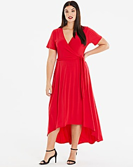 Red Dipped Back Wrap Dress