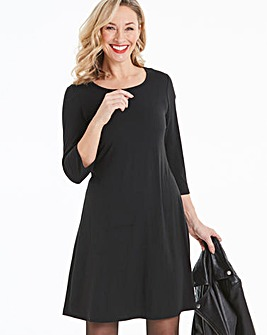 Black Long Sleeved Swing Dress