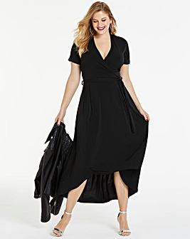 Black Dipped Back Wrap Dress