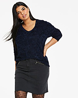 Navy V Neck Chenille Jumper