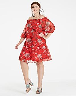 Red Print Metallic Stripe Bardot Dress