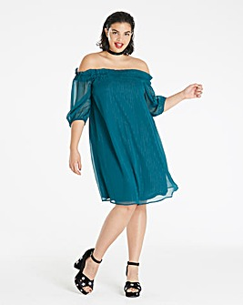 Teal Metallic Stripe Bardot Dress