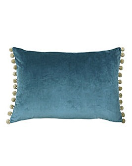 Fiesta Velvet Pom Pom Cushion Blue