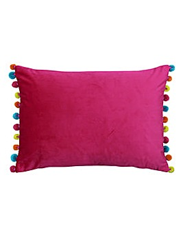 Fiesta Velvet Pom Pom Cushion Hot Pink