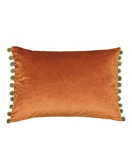 Fiesta Velvet Pom Pom Cushion Rust