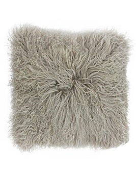 Mongolian Fur Cushion Grey