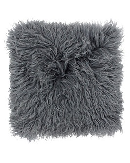 Mongolian Fur Cushion Charcoal