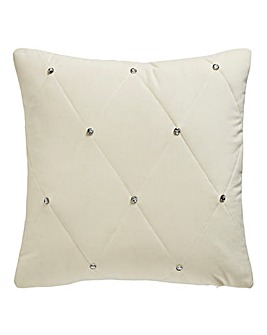 Quilted Cushion with Diamante Cream