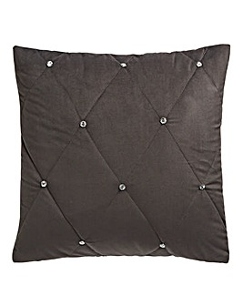 Quilted Cushion with Diamante Pewter