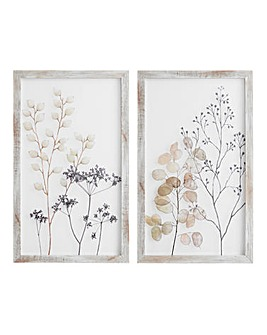 Set of 2 Floral Print on Glass