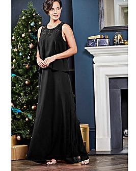 Lace Yoke Layer Maxi Dress