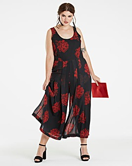 Black Rose Printed Chiffon Jumpsuit