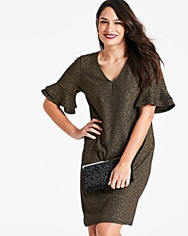 Glitter Knit Dress with Ruffle Sleeve