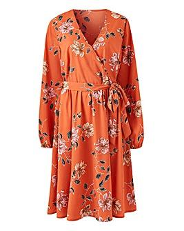 Volume Sleeve Wrap Midi Dress