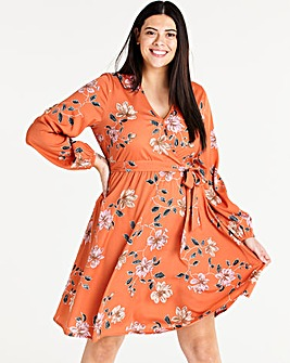 Volume Sleeve Wrap Midi Dress