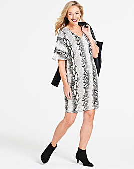Snake Print Ruffle Sleeve Dress
