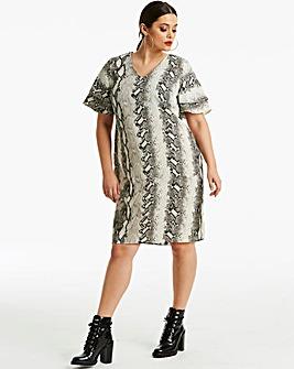 Snake Print Ruffle Sleeve Dress